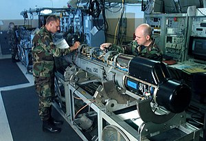 Electronic countermeasure - Inspecting an AN/ALQ-184 Electronic Attack Pod.