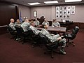 U.S. Army Maj. Gen. Myles Deering, at head of table, the adjutant general of Oklahoma, attends a briefing on tornado recovery efforts May 28, 2013, in Oklahoma City 130528-Z-VF620-4251.jpg