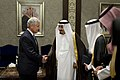 U.S. Defense Secretary Chuck Hagel shakes hands with Saudi Crown Prince Salman bin Abdulaziz Al Saud, who also serves as first deputy prime minister and defense minister, before a meeting in Jeddah, Saudi Arabi 140513-D-BW835-185.jpg