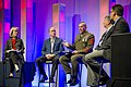 U.S. Marine Corps Sgt. Maj. Bryan B. Battaglia, center, the senior enlisted adviser to the chairman of the Joint Chiefs of Staff, attends the 2013 General Electric Veterans Network Summit at the Gaylord National 130523-A-HU462-015.jpg