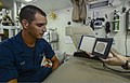 U.S. Navy Seaman Randy Tuff undergoes a color proficiency test Oct. 3, 2013, aboard the guided missile cruiser USS Monterey (CG 61) in the Persian Gulf 131003-N-QL471-022.jpg