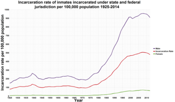 Incarceration in the united states wikipedia a graph showing the incarceration rate under state and federal jurisdiction per 100000 population 19252013 does not include unsentenced inmates fandeluxe Image collections