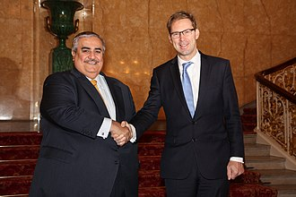 Khalid bin Ahmed Al Khalifa - Khalid bin Ahmed Al Khalifa (left) with UK MP Tobias Ellwood (right) in 2015