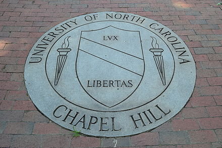 A representation of the university seal, located in front of South Building and dedicated by the class of 1989. UNC Seal.JPG
