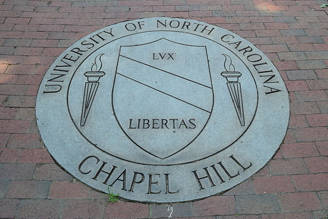 Close-up of the university seal of the University of North Carolina