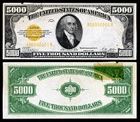 $5,000 Gold Certificate, Series 1928, Fr.2410, depicting James Madison