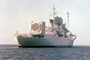 Radar MASINT - Aft view of the USNS ''Observation Island'' showing the location of the AN/SPQ-11 Cobra Judy array.