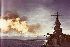 USS Biloxi (CL-80) - Biloxi firing 6 inch guns during shakedown, 1943