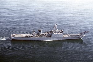 USS Fresno (LST-1182) - Image: USS Fresno (LST 1182) stbd beam view