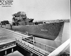 USS Stadtfeld (DE-29) fitting out at the Mare Island Naval Shipyard on 3 July 1943