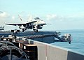 US Navy 020828-N-9593M-020 F-A-18C Hornet launches from USS Lincoln.jpg