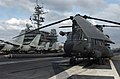 US Navy 021105-N-1810F-008 A U.S. Army MH-47 Chinook Special Operations helicopter deployed from Okinawa, Japan, sits chained and chocked on the flight deck aboard USS Kitty Hawk (CV 63).jpg