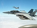 US Navy 050614-N-0000I-007 An F-A-18F Super Hornet flies in a loose formation with an F-A-18E Super Hornet.jpg
