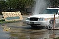 US Navy 050919-N-9458H-001 New Orleans Police Department patrol cars move through a decontamination station.jpg