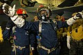 US Navy 060630-N-3946H-213 Hull Technician 2nd Class Sylvester Woods, from Chicago, acts as the On-Scene Leader during a hangar bay fire drill.jpg