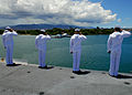 US Navy 080801-N-2638R-003 Sailors salute the USS Arizona Memorial from the flight deck of the aircraft carrier USS Kitty Hawk (CV 63) as the ship pulls out of Pearl Harbor after participating in Rim of the Pacific (RIMPAC) 200.jpg
