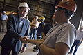 US Navy 090716-N-5549O-289 Secretary of the Navy (SECNAV) the Honorable Ray Mabus greets shipyard workers during a tour of Marinette Marine Shipyard.jpg