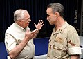 US Navy 101009-N-5429S-077 Former astronaut Neil Armstrong talks with Rear Adm. Charles Gaouette, deputy commander of U.S. Naval Forces Central Com.jpg