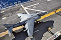 US Navy 110210-N-1376S-213 An AV-8B Harrier assigned to the Black Sheep of Marine Attack Squadron (VMA) 214 takes off from the amphibious assault s.jpg