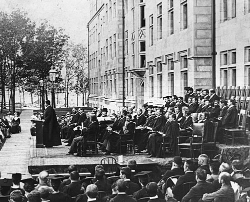 An early convocation ceremony at the University of Chicago. Uchicago convocation 1894.jpg