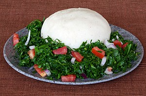 Ugali - Ugali and sukuma wiki (collard greens)