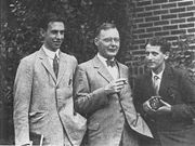 George Uhlenbeck, Hendrik Kramers, and Samuel Goudsmit around 1928 in Ann Arbor.