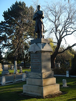 Union Cemetery (Redwood City, California) - Image: Union Cemetery (Redwood City, CA) GAR Memorial viewed diagonally