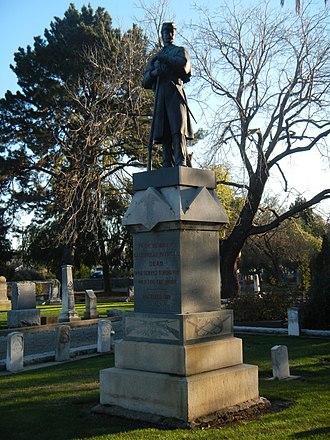 Union Cemetery (Redwood City, California) - Image: Union Cemetery (Redwood City, CA) GAR Memorial viewed diagonally