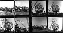 A set of eight photographs showing the Unisphere under construction in the 1960s<