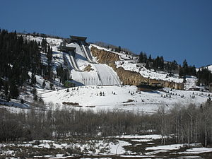 Utah Olympic Park - The park as seen from the base of a hill on a warm winter day
