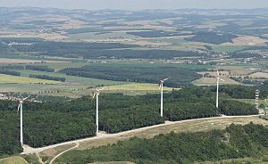 Renewable energy in the European Union - Wind power stations in Cerová, Slovakia.