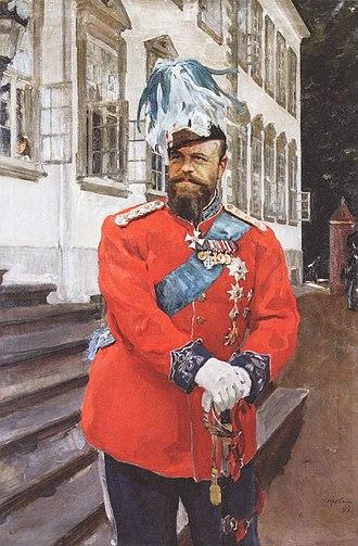 Royal Life Guards (Denmark) - Image: Valentin Serov Alexander III in Danish Royal Life Guards Uniform