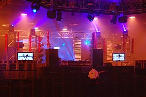 Stage lighting - An example of a rig including moving head, generic and LED fixtures at 'The Tuesday Club'