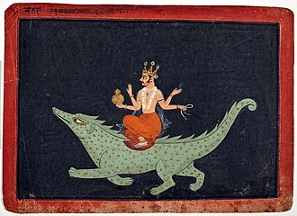 Varuna - The God Varuna on his mount Makara, 1675–1700 Painted in: India, Rajasthan, Bundi, placed in LACMA museum