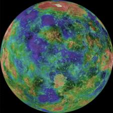 Gráfico de altitud y profundidad de la superficie de Venus.