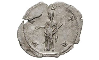 Epulones - Goddess (Vesta or Concordia), extending a patera, emblem of the Epulones