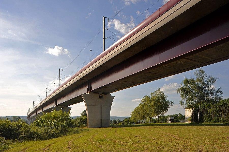 Viaduc de Vandières, LGV Est near Champey-sur-Moselle; Meurthe-et-Moselle, France.