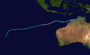 1997–98 South-West Indian Ocean cyclone season - Cyclone Victor-Cindy's path, with the points indicating the storm's position and intensity at six-hour intervals, and being colored using the Saffir–Simpson hurricane wind scale.