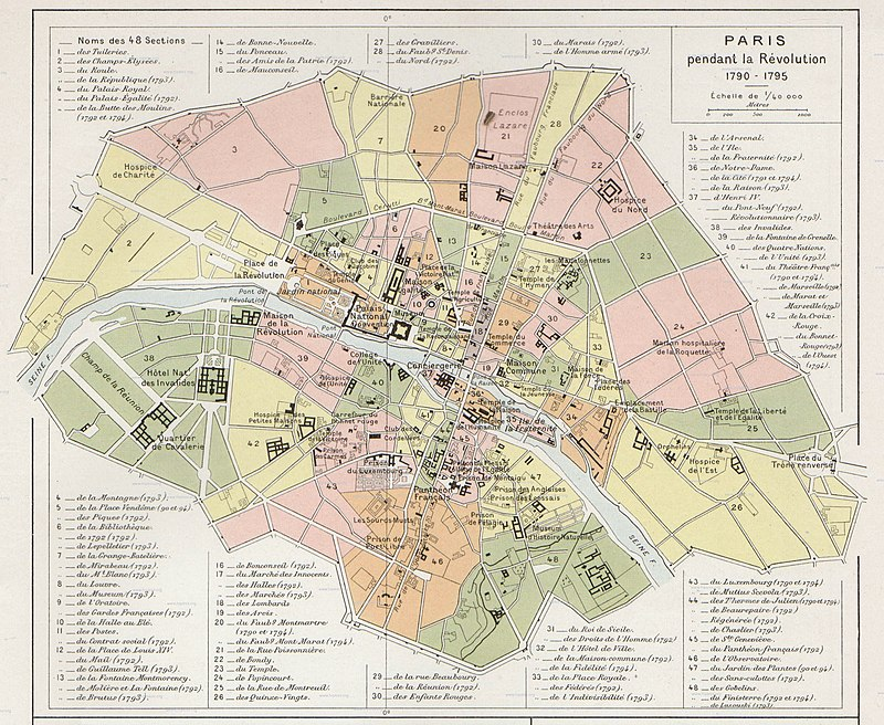 Carte des sections de Paris