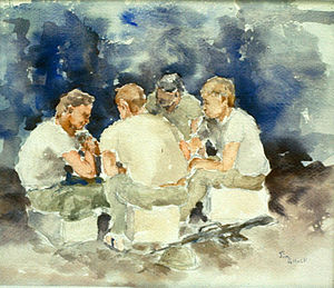 National Museum of the United States Army - GI Card Game, Watercolor by James Pollock, U. S. Army Vietnam Combat Artists Team IV (CAT IV 1967). During the Vietnam War soldiers waiting to go on patrol would sometimes spend their leisure time playing cards. Courtesy National Museum of the United States Army.
