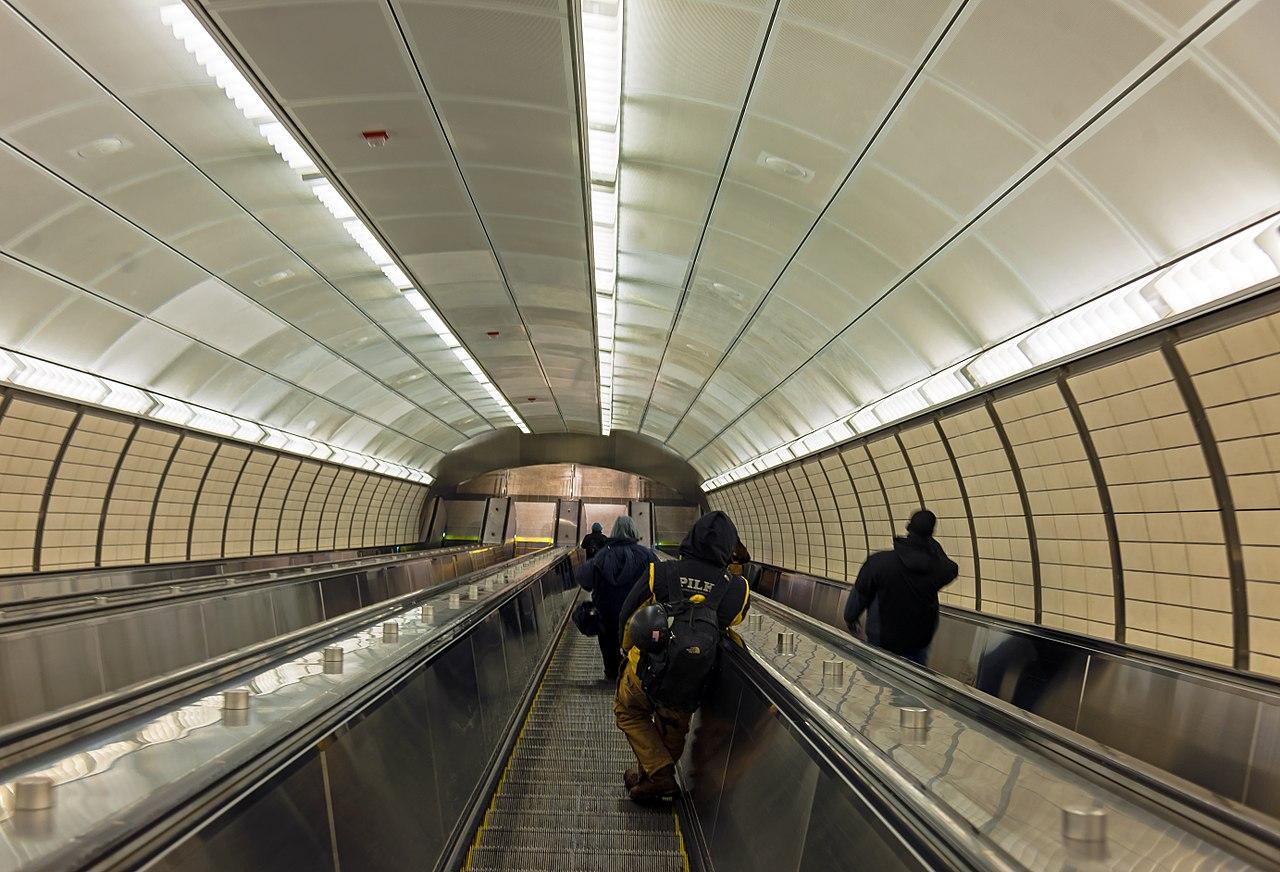 File View Down Escalator At Hudson Yards Subway Station