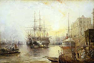 View of Greenwich in 1877 Showing the Training Ship HMS Warspite.jpg