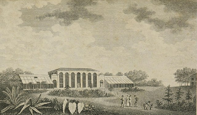 Engraving (c. 1802) of a drawing by L. Simond, titled View of the Botanic Garden at Elgin in the vicinity of the City of New York View of the Botanic Garden at Elgin.jpg