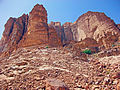 View up slope and cliffs near Lawrence Spring, Wadi Rum.jpg