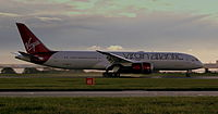 Virgin Atlantic Boeing 787-9 Dreamliner G-VNEW Landing At Liverpool John Lennon Airport Oct 2014.jpg
