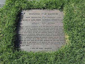 Virginia Fox - Virginia Fox Zanuck's tomb in Westwood Memorial Park, Westwood, Los Angeles, California