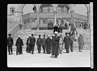Visit of H.R.H. Princess Mary and the Earl of Harwood. March 1934. Princess Mary at the Dome of the Rock, Jerusalem. Escorted by the Grand Mufti and staff, March 13 LOC matpc.15795.jpg