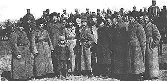 Nikolai Bukharin - Kliment Voroshilov, Semyon Budyonny, Mikhail Frunze and Nikolai Bukharin in Novomoskovsk 1921 with the 1st Cavalry Army (Konarmia)