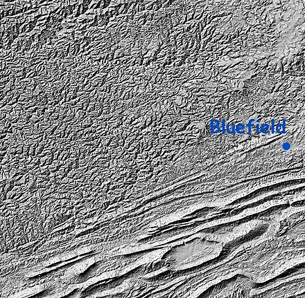 Shaded relief map of the Cumberland Plateau and Ridge-and-valley Appalachians WV plateau.jpg