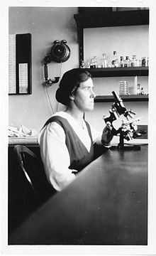 Photograph of Kirkbride Farr at a desk with microscope, lab equipment on shelves